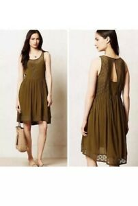 Anthropologie-Lilka-Matepe-Olive-Green-Lace-Crochet-Dress-Sz-S-Swing-Sleeveless