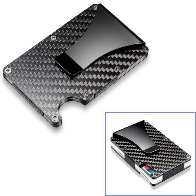 the best attitude 89f1c 35198 Black Carbon Fiber Slim Bank Debit Card Holder Money Clip Business Wallet  Purse