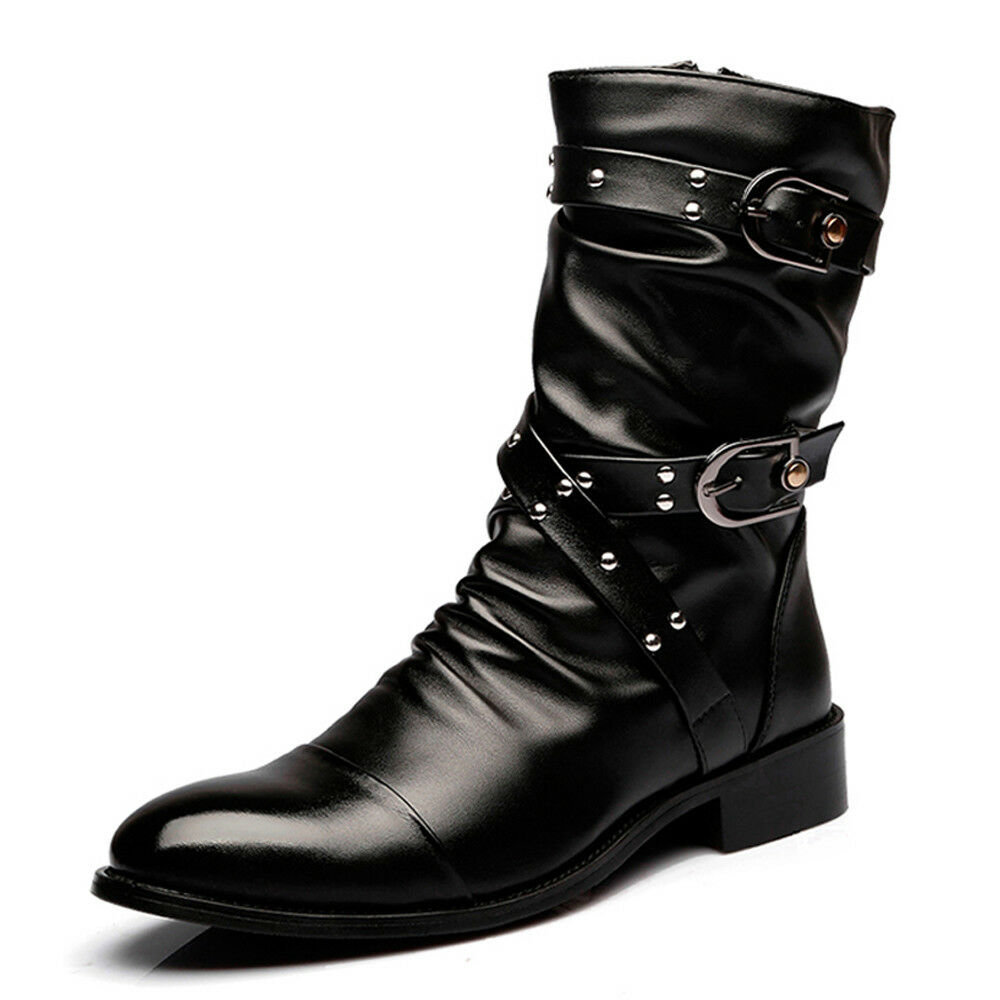 Men Mid Calf Boots Long Wrinkle Boots Pointed Toe shoes Leather Boots Riding New
