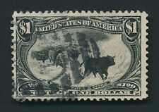 US #292 1898 $1 CATTLE IN STORM OMAHA BLACK STRONG CENTERING F/VFU