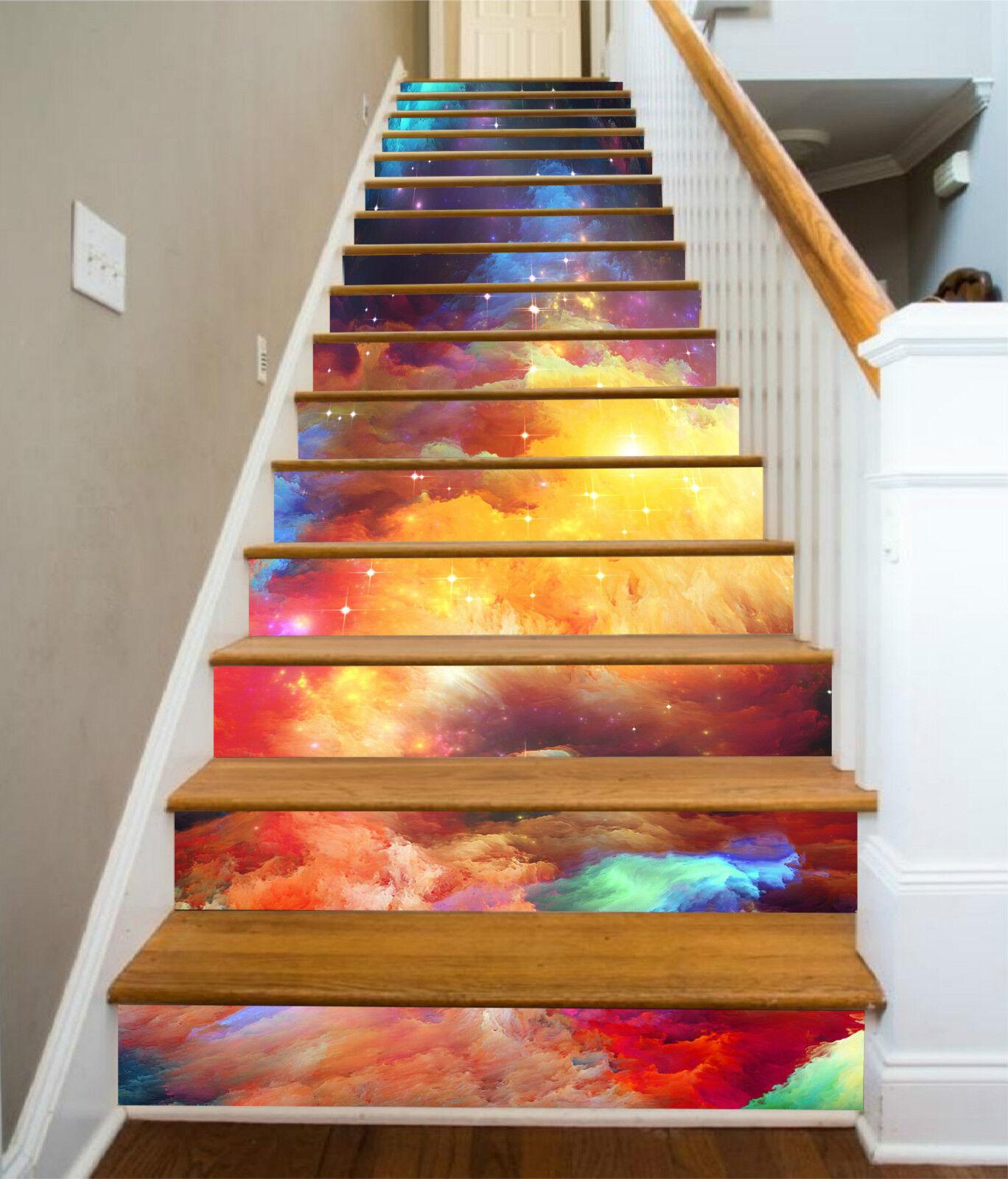 3D Farbe Wolke 005 Stair Risers Dekoration Fototapete Vinyl Aufkleber Tapete DE