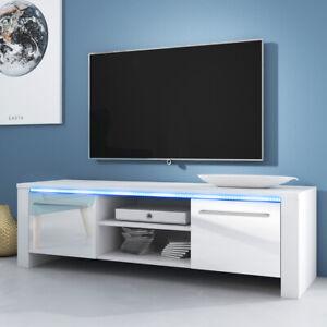 Messa Meuble Tv Avec Led Bleue Blanc Noir Effet Chene 140 Cm Design Salon Table Ebay