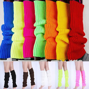 US-Women-Party-Legwarmers-Knitted-Neon-Dance-80s-Costume-1980s-Lady-Leg-Warmers