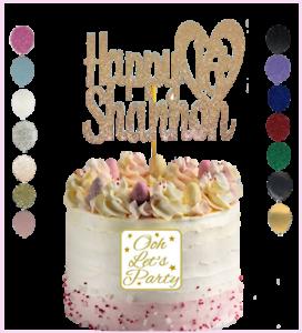 Personalised Cake Topper Tout Nom Âge Or Rose Argent fuschia personnalisé