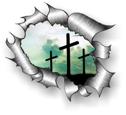 Classique déchiré déchiré métal RIP /& religieux crucifix symbole Vinyle Autocollant Voiture