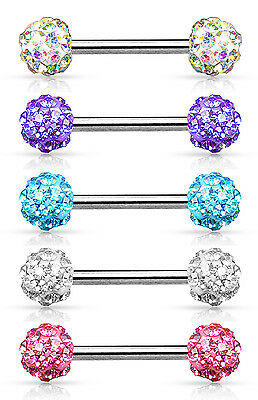Crystal Paved Ferido Balls Nipple Bar With 316L Surgical Steel Barbell