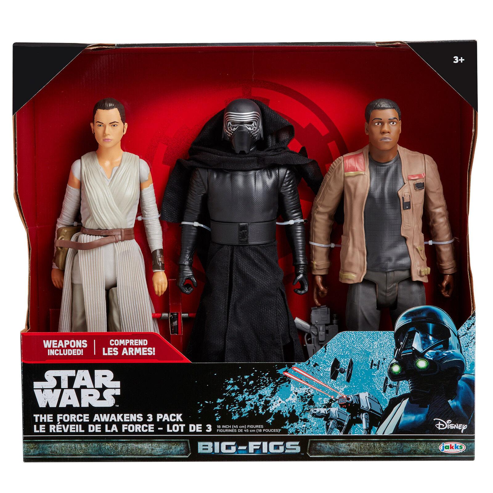 3 Star Wars The Force Awakens JAKKS BIG FIGS Action Figures Kylo Ren Finn Rey