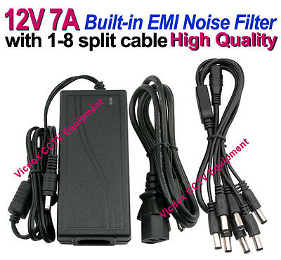 DC 12V 7A Power Supply Adapter +8 Split Power Cable for CCTV Security Camera DVR
