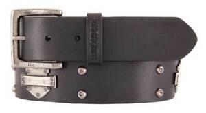 Harley-Davidson Men/'s Embossed Danger Zone Genuine Leather Belt HDMBT11212-BLK