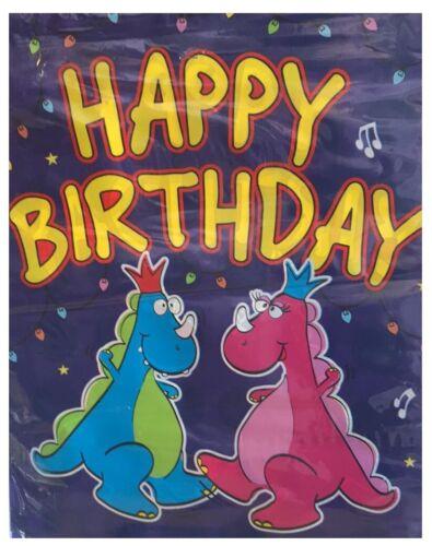 Plastic Dinosaur HAPPY BIRTHDAY Boy Girl Hanging Bunting Flag Decoration 12ft
