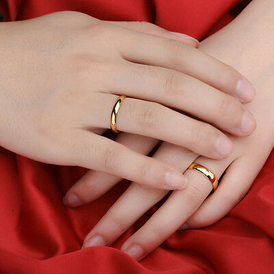 Polished Gold/Silver Rings Stainless Steel Wedding Simple Couple Bands Size 6-10