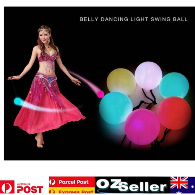 4Pcs LED Multi-Colored Glow POI Thrown Balls Light Up For Belly Dance Hand Props