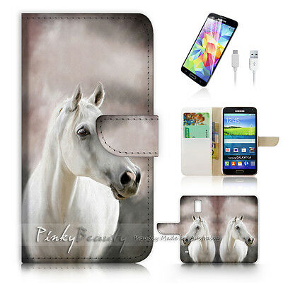 ( For Samsung S5 ) Wallet Case Cover! P0583 Horse