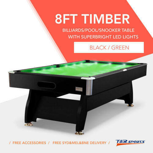 8FT GREEN TIMBER MDF POOL SNOOKER BILLIARD TABLE LED