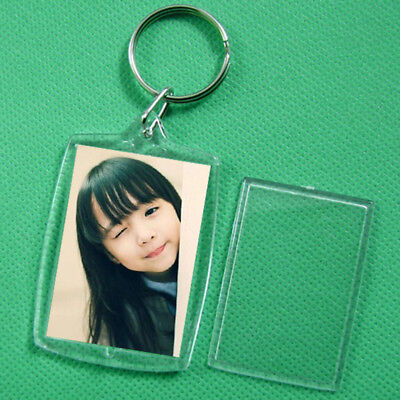 5//10x Clear Acrylic Blank Photo Picture Frame Key Ring Keychain Keyring Gift CAW