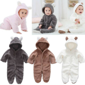 4758faeb3817 newborn 0-3m baby winter clothes jumpers fleece warm bodysuit 6m 9m ...