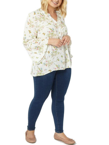 New Ladies Evans  Floral Long Sleeve Blouse Tie Neck Tunic Shirt Plus Size 14-32