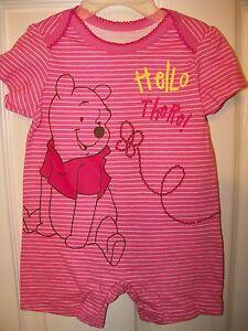 465097210 Disney Winnie The Pooh Short Romper One Piece Baby Girls Size 0 / 3 ...