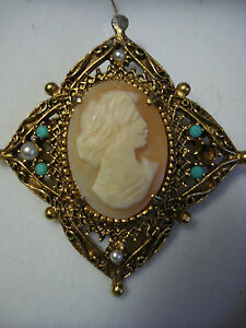 BROCHE-034-Florenza-034-CAMEE-COQUILLE-PERLE-FINE-TURQUOISE