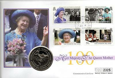D Ascension Islands 100 Years Queen Mother Fishing 1995 50p Crown Coin Cover