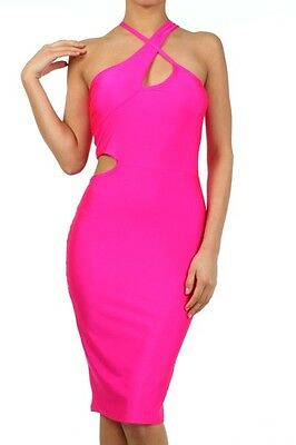 HOT Sexy Celebrity Fitted Bodycon Cross Strap Side Cut Midi Pencil Dress USA