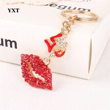 Red & Gold Clear Crystal CZ Lips Kiss Sexy Love Keyring Chain Handbag Charm 1449