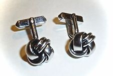 VINTAGE SWANK CUFF LINKS - CLASSIC SILVER KNOTS - UNISEX - FREE SHIPPING