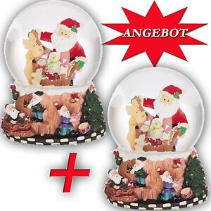 SCHNEEKUGEL SET   Weihnachts- melodie Spieluhr Weihnachtsmann Rentier Snow 300
