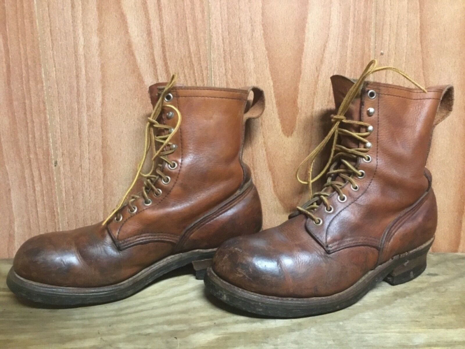VTG MENS RED WING STEEL TOE WORK BROWN BOOTS SIZE 8.5