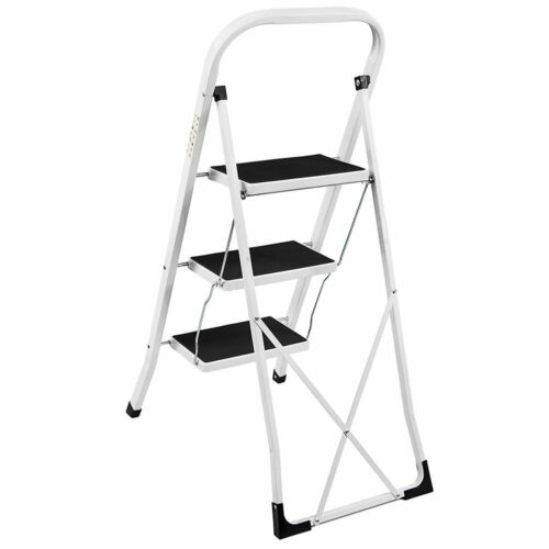3 Step Ladder Heavy Duty Steel Folding Portable With Anti-Slip Mat White//Black