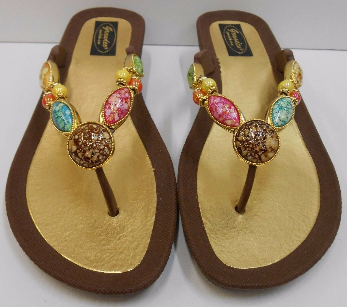 GRANDCO SANDALS Dressy Beach Pool THONG BLING Brown Frosted JEWELED Flip Flops