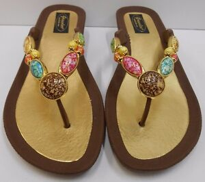Image Is Loading Grandco Sandals Dressy Beach Pool Bling Brown