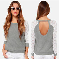 UK Women Backless Long Sleeve Lace Tops Shirt Blouse