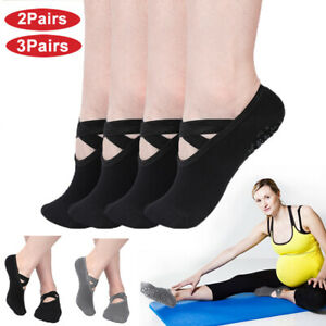 Non Slip Yoga Socks Exercise Barre Ballet Ankle Grip Cotton Pilates Exercise Gym