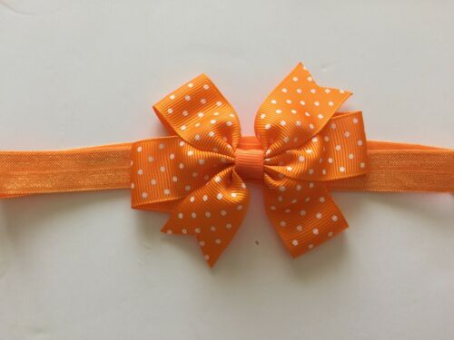 Lot Baby Girls Bow Headbands Polka Dot Soft Elastic Band Cute New Born Toddler