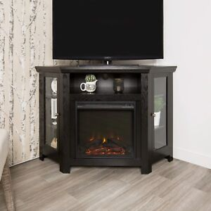 Modern Corner Electric Fireplace 55 Wooden Tv Stand Entertainment