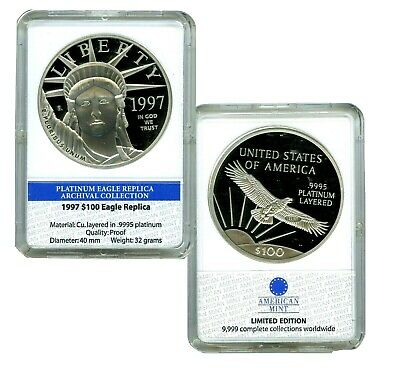 1997 $100 PLATINUM EAGLE COMMEMORATIVE COIN PROOF  LUCKY MONEY VALUE $99.95