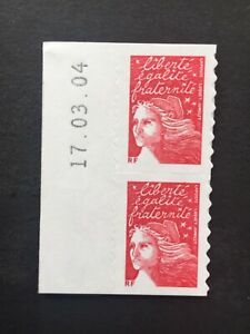 Paire-Timbres-France-2001-YT-3419-Neufs-Marianne-de-Luquet-Autoadhesif-Date