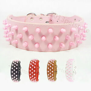 pet-collars-leather-Pink-large-dog-collar-bully-necklace-boxer-spiked-pitbull