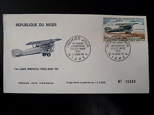 NIGER-AERIEN-84-PREMIER-JOUR-FDC-AVION-BIPLAN-POTEZ-25-80F-1968