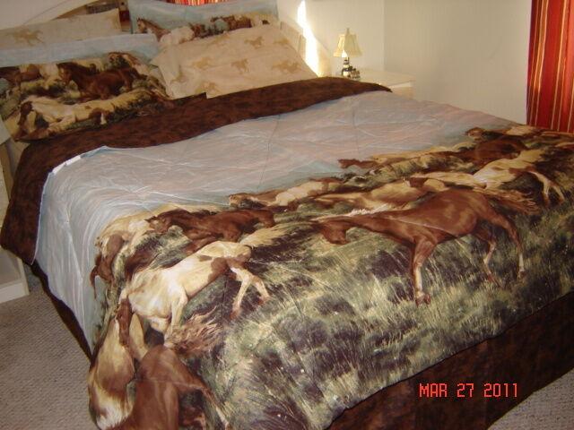 Horse Run Pony Cowboy Western Bed in a Bag Comforter Sheet Set King