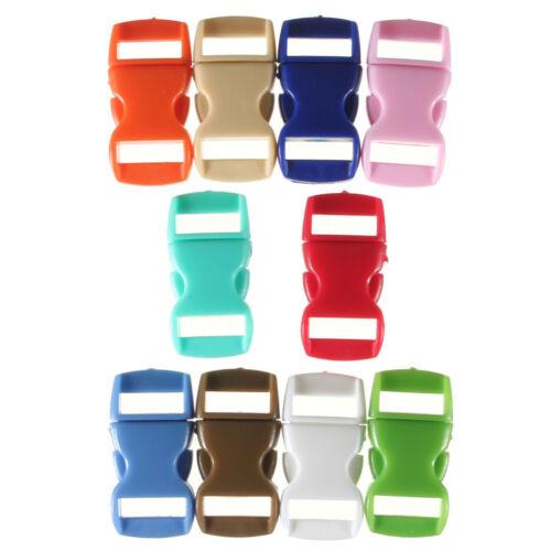 Colored 10Pcs Curved Side Release Plastic Buckles For Umbrella Paracord Bracelet