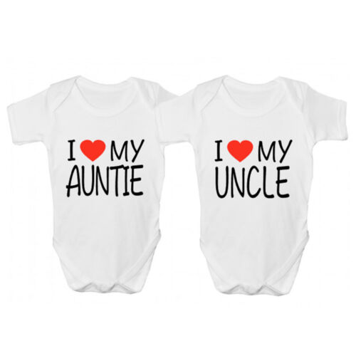 Funny Babies Clothing I Love My Uncle Baby Grow Novelty I Love My Auntie