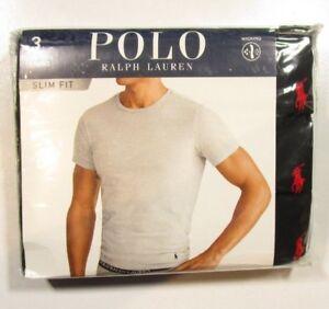 Details about Polo Ralph Lauren Men's Black Slim Fit Crew-Neck Moisture Wicking T-Shirt 3 Pack