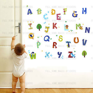 52pcs-Zoo-Animales-Alfabeto-pegatinas-de-pared-calcomania-Infantil-Kid-Vivero-Bebe-Habitacion