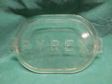 """RARE Pyrex Glass Roaster Lid NO KNOB Marked with Large Raised Letters 14 3/4"""""""