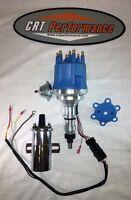 Ford 300 / 240 I6 4.9l Small Cap Blue Hei Distributor + 45,000v Chrome Coil