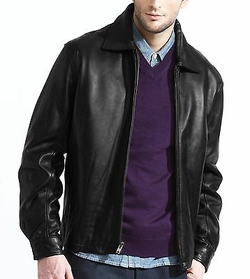 mens leather jacket black, zip out liner, lambskin,  front zipper, open bottom