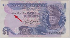Mazuma *M906 Malaysia 5th Aziz Taha $1 AA2059780 GEF