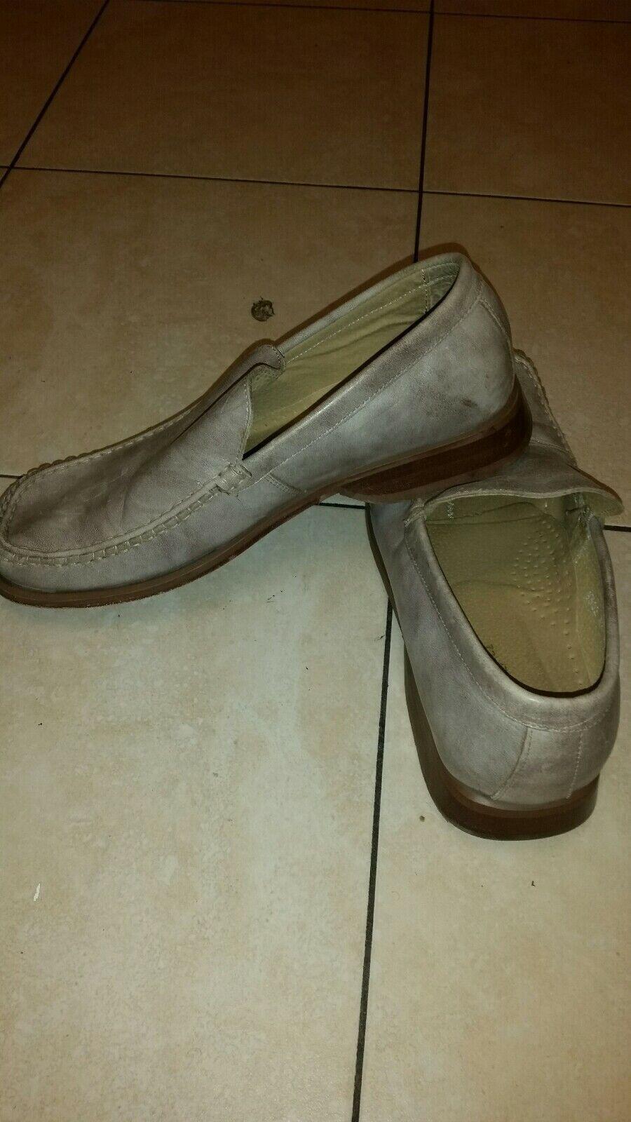 VINCENTI Pure Leather Italian Made Loafer Grey Marble Shoe Men 8Uk /42Eu